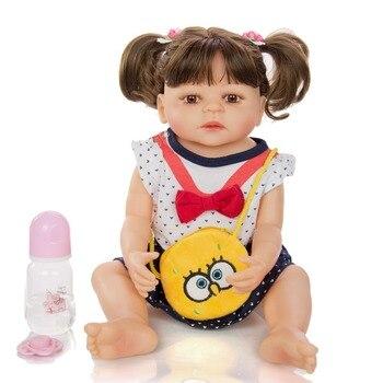 "Baby reborn Full body silicone girl dolls 22"" 55cm bebes reborn toddler alive munecas reborn brinquedos"