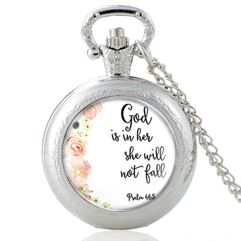 Classic Vintage Silver Bible Verse Design Glass Dome Pocket Watch Men Women Quartz  Necklace Pendants Jewelry Gifts недорого