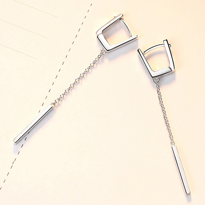2019 New 925 Sterling Silver Woman Tassel Pendant Earrings Fashion Pillar Statement Earrings Luxury Jewelry For Girls Gifts