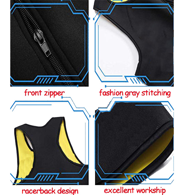 CXZD Men's Body Shaper Hot Sweat Workout Tank Top Slimming Neoprene Vest for Weight Loss Tummy Fat Burner 5