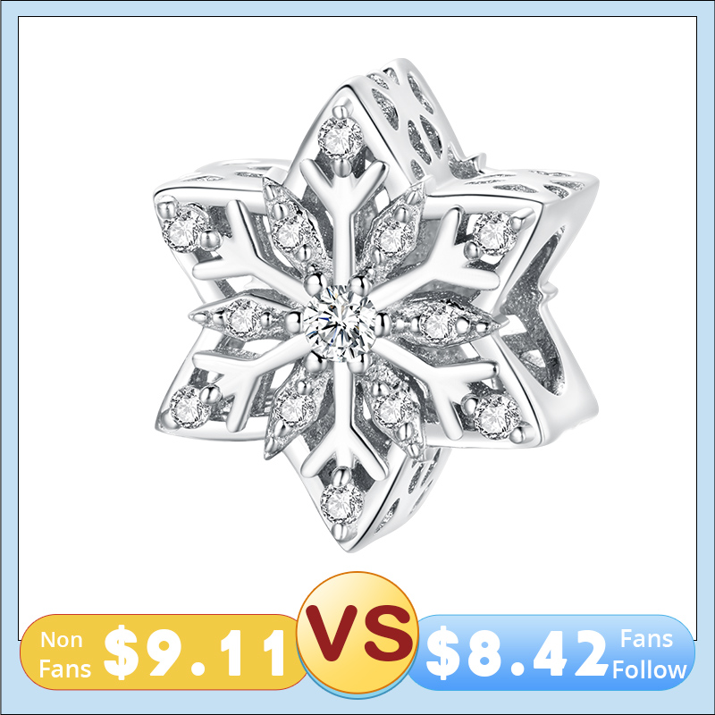 BISAER New Shiny Snowflakes Charms 925 Sterling Silver Beads Pendant DIY Bracelets Necklace 2020 Jewelry Gift EFC368