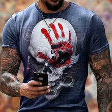 Camisa 2021 para homem, cuello redondo, manga corte, estampado de calavera muscular, camisa informal de verano nueva