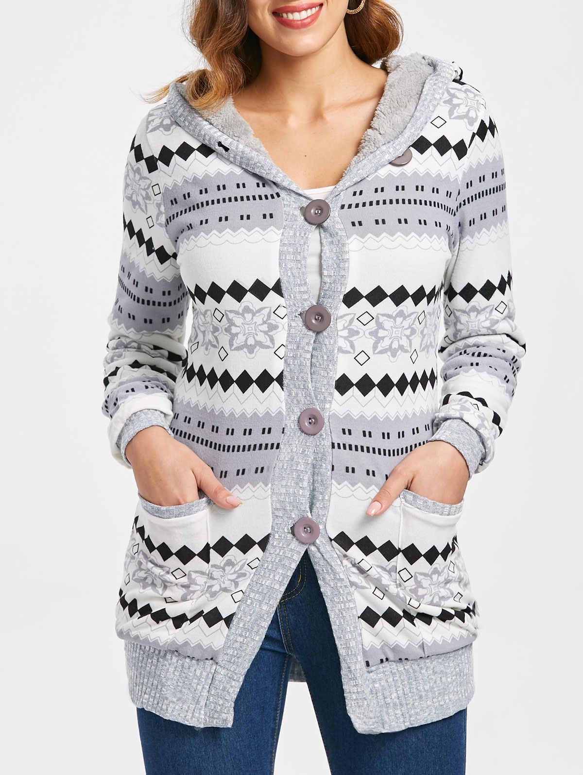 Kenancy geométrico retalhos feminino causal camisola outono com capuz mangas compridas feminino cardigan botão up bolsos duplos femme topos
