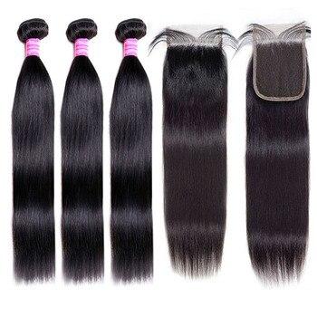 цена на [BY] Straight Hair Bundles With Closure Natural Human Hair 3 Bundles With Closure Brazilian Hair Weave Bundles 4x4 Swiss Lace