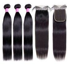 Pacotes de cabelo liso com fecho de cabelo humano natural 3 pacotes com fecho de cabelo brasileiro 4 renda suíça x 4