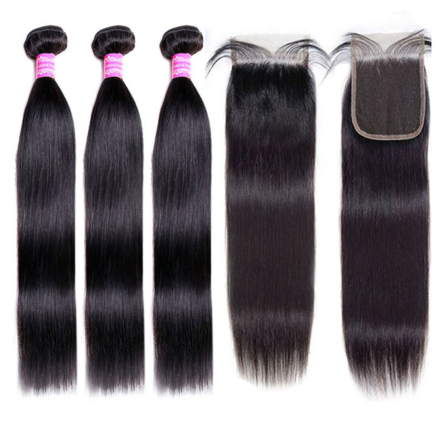 30inch Straight Hair Bundles With Closure Natural Human Hair 3 Bundles With Closure Brazilian Hair Weave Bundles 4x4 Swiss Lace