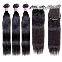 [BY] прямые пряди волос с закрытием, натуральные человеческие волосы 3 пряди с закрытием, бразильские волосы, пряди 4x4, швейцарское кружево