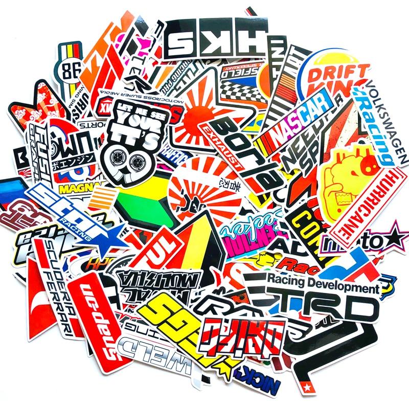 100PCS Racing Stickers Car Waterproof Sticker DIY Motocross Racing Helmet Skateboard Bicycle Laptop PVC JDM Luggage Sticker HKS