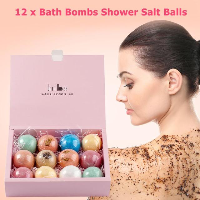 12pcs Natural Bath Bombs Bubble Bath products Essential Oil Handmade SPA Stress Relief Exfoliating Cleaner Bathing Gifts