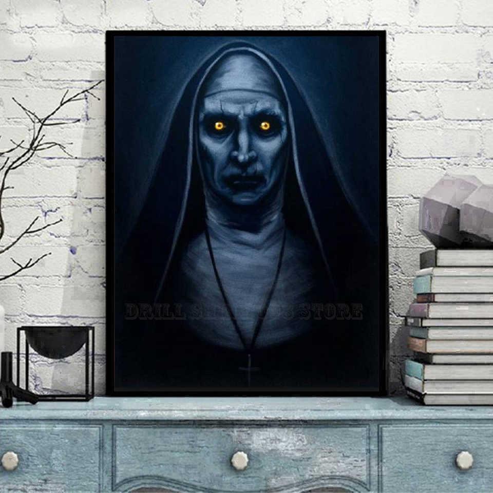 """""""Personnage de film d'horreur valak"""" diamant peinture maison décoration murale Halloween cadeau 5D bricolage broderie complète motif mosaïque artisanat"""