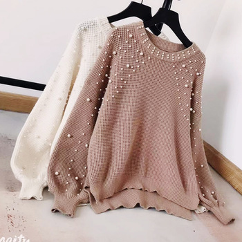Retro Handmade Pearls plus size loose knitted sweater Beading split casual pullover sweater Lantern sleeve womens jumpers winter lantern sleeve plain pullover sweater