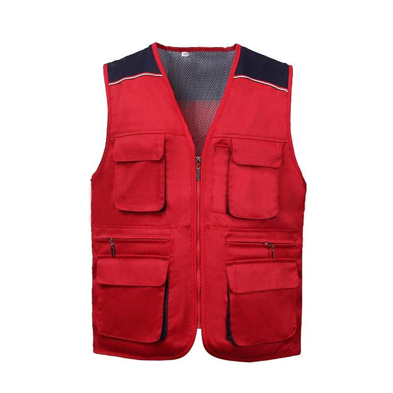 Warm Work Vest Multi Pockets Antistatic Fashion Multicolor Workshop Safety Labor Protection Metal Zipper Comfortable Work Vest
