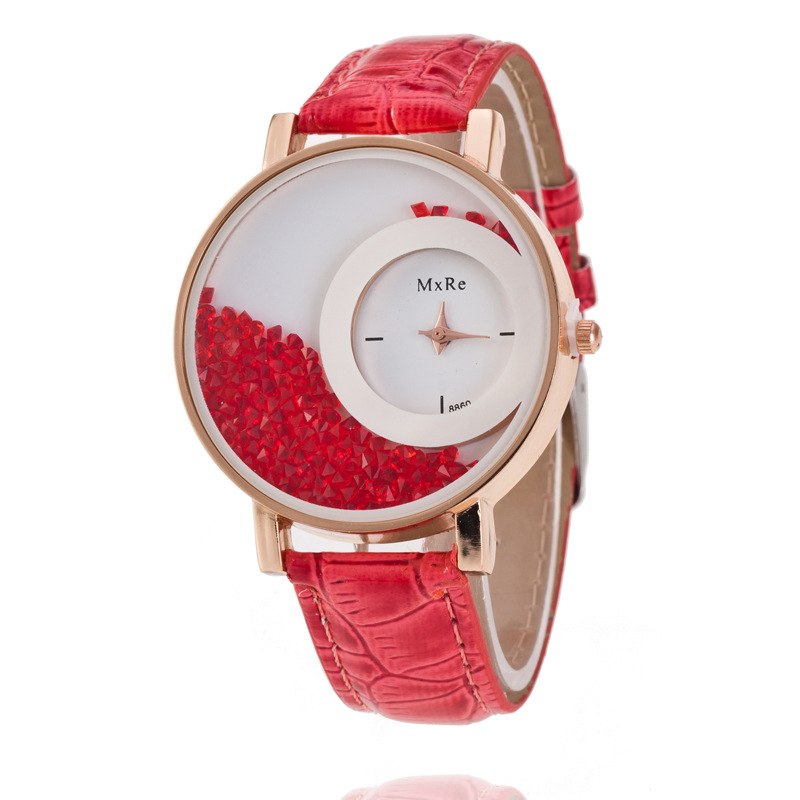 TOP Luxury Brand Leather Crystal Quartz Watch Women Ladies Fashion Bracelet Wrist Watch Female Clock Relogio Feminino 8O64