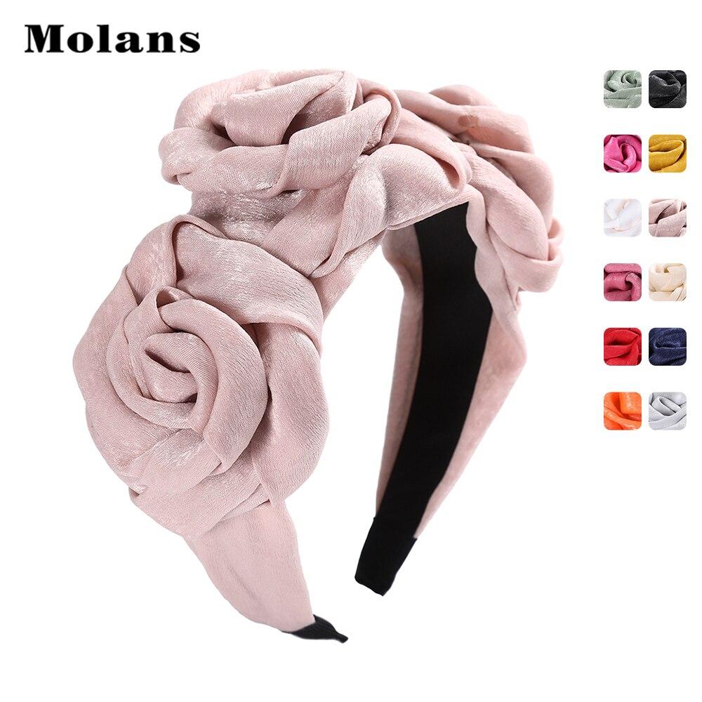 Molans Silk Faille Triple Rosette Headband For Women Handmade Solid Three Rose Fabric Fashion Head Hoop Girl's Hair Accessories