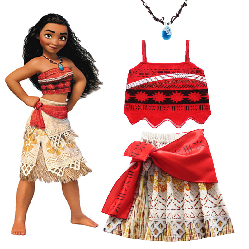 2020 Girls Moana Cosplay Costume For Kids Vaiana Princess Dress Clothes For Halloween Costumes For Girls Baby Girl Party Dresses