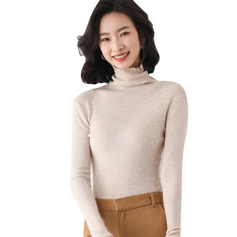 Купить женский трикотажный свитер с высоким воротником однотонный мягкий