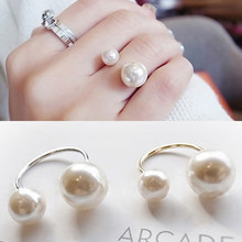 Popular Imitation Pearls Adjustable Handmade Rings For Women Girlfriend Friendship Best Friend Gold Silver Color Rings Jewelry(China)