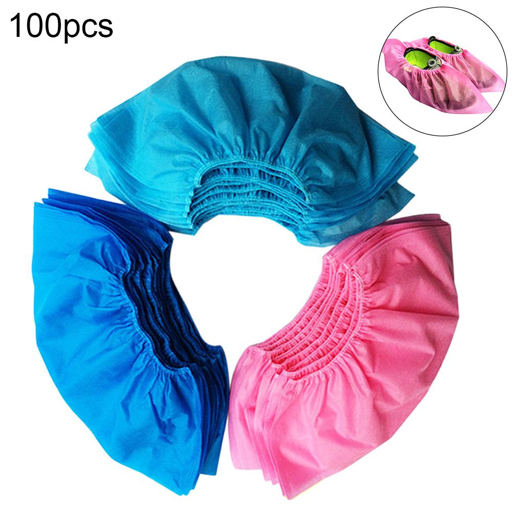 100pcs Disposable Shoe Cover Dustproof Non-slip Dhoe Cover Children Students Adult Non-woven Shoe Cover Household Foot Cover