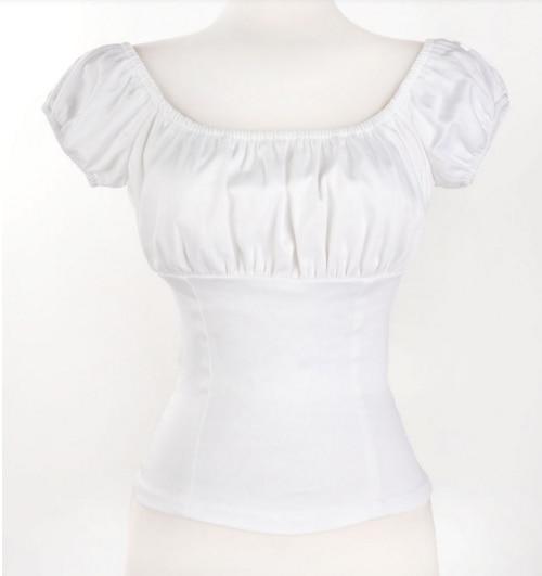 2020 Ретро винтажная женская блузка летняя низкая спина белая ретро Крестьянская Женская 50s 60s Pinup Топ Хлопок белого размера плюс Ретро Топы