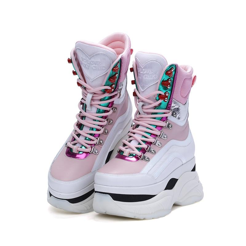 Women Sneakers Shoes Pink Genuine Leather Sneakers Womens Chunki Shoe Woman Fashion Thick Sole Ladies Platform Shoe Sneaker