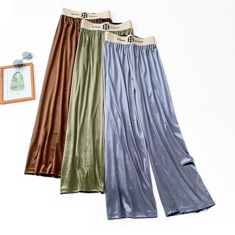 Wasteheart Autumn Women Fashion Pink Green Blue Long Loose Pants High Waist Full Female Casual Wide Leg