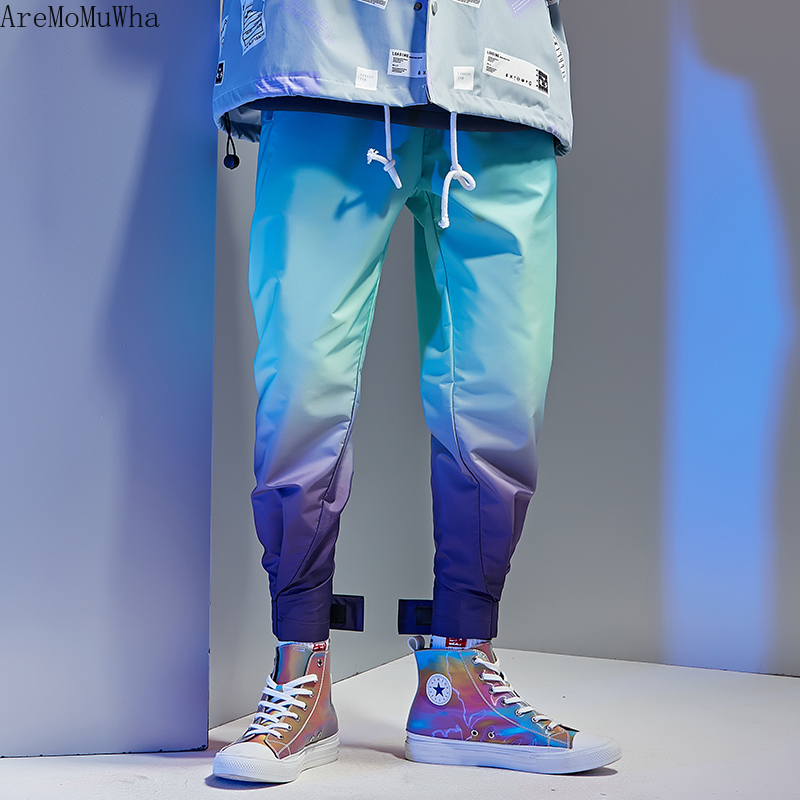 AreMoMuWha New Gradient Color Trousers Men Tide Brand Korean Casual Pants Personality Trend Loose Sports Hip-hop Pants QX1449