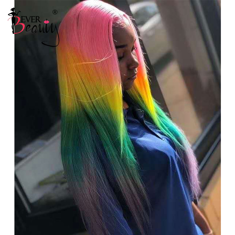 Green Straight Colored Lace Front Wigs Human Hair Ombre Pink 613 Blonde Lace Front Human Hair Wigs Rainbow Transparent Lace Wig image