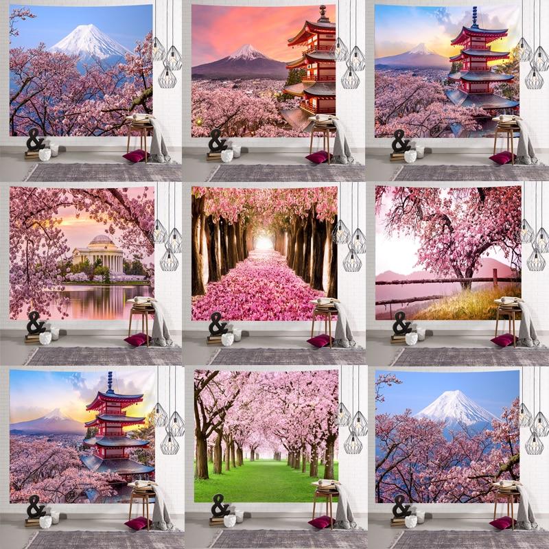 Mandala Indian Tapestry Wall Hanging Romantic Cherry Blossoms  Misty Mountain Bohemian Yoga Mat Home Bedroom Art CarpetTapestry   -