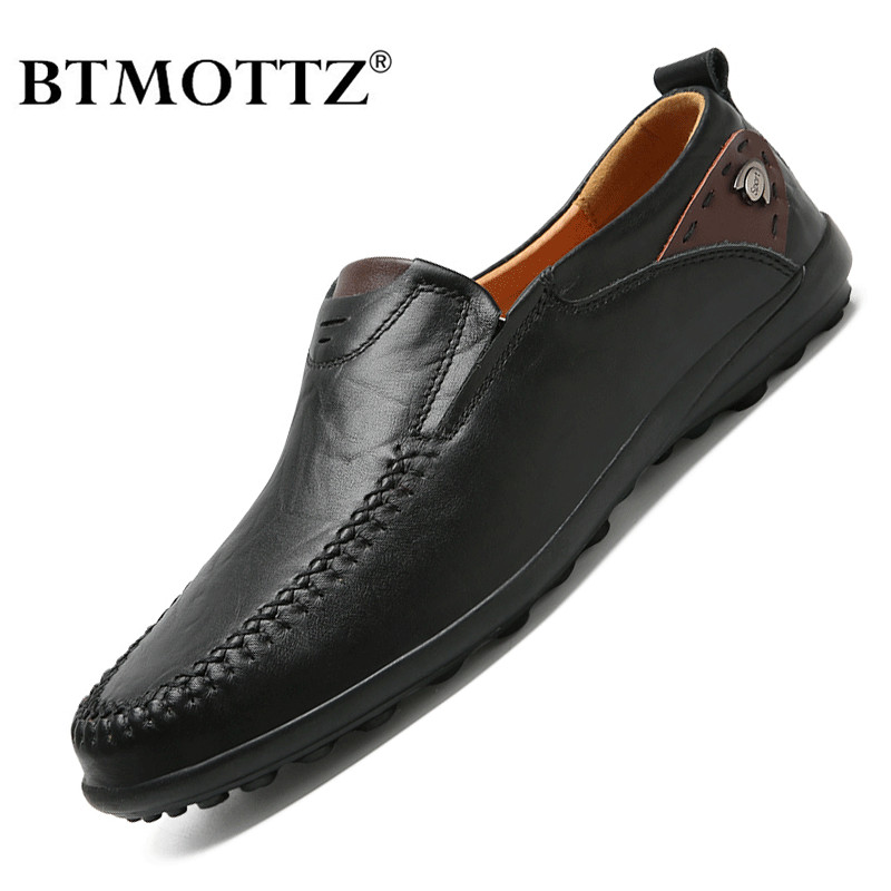 Men Shoes Casual Luxury Brand 2020 Genuine Leather Italian Men Loafers Moccasins Slip On Mens Driving Shoes Black Plus Size 47