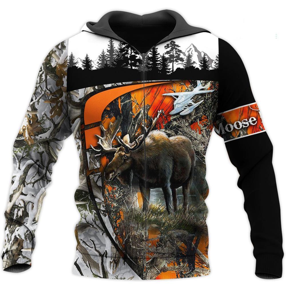 Amazing Moose Hunting 3D Print Hoodies men/women Harajuku Fashion Hooded Sweatshirt Autumn Hoody Casual streetwear hoodie SL-451