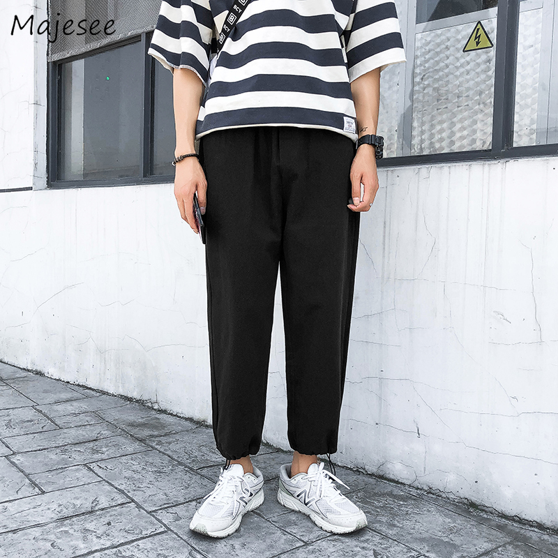 Sweatpants Men Solid Ankle-length Drawstring Plus Size Mens Pants Simple All Match Elastic Hot Sale Breathable Males Trousers