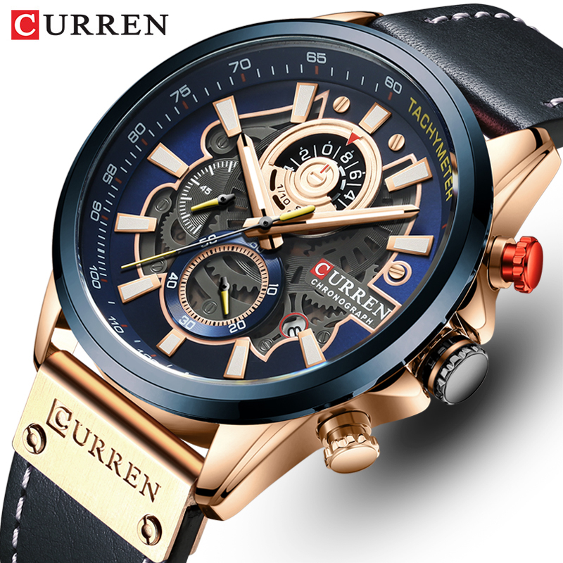 CURREN Mens Watches Luxury Brand Fashion Quartz Watch Men Leather Sports Wristwatch Chronograph Clock Male Relogio Masculino(China)