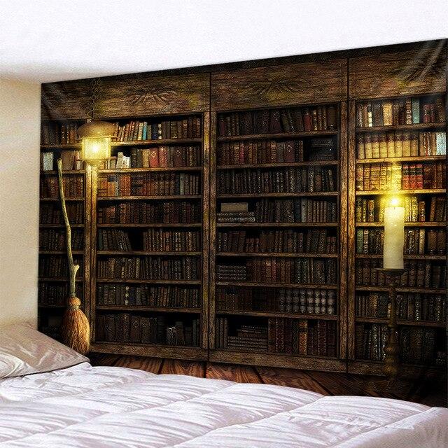 Magic Retro Bookshelf Tapestry Art Wall Hanging Tapestries Bedspread Throw Home Decor