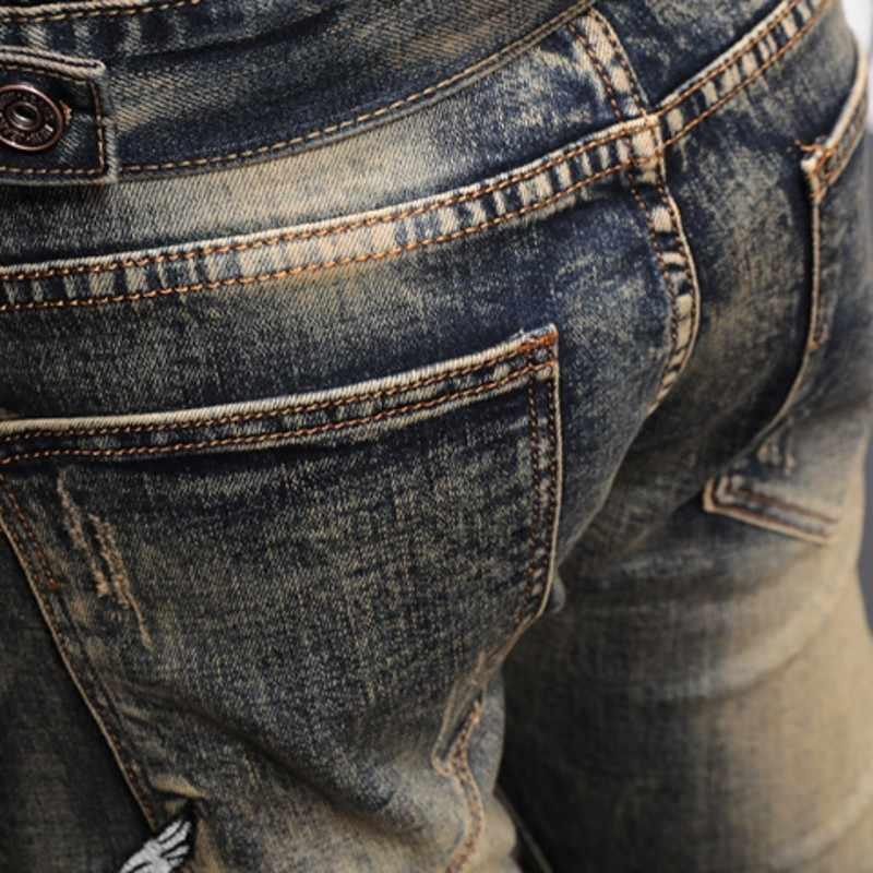 Wiosna mężczyźni nadruk w stylu vintage skręcić w dół kołnierz kurtka dżinsowa Slim haft płaszcz kowbojski + spodnie jeansowe dwuczęściowy zestaw męski Streetwear