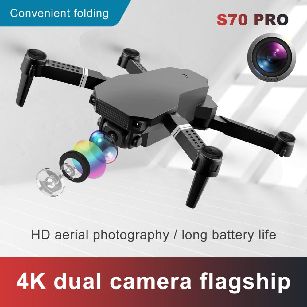 New 2021 S70 drone 4K HD dual camera foldable height keeping drone WiFi FPV 1080p real-time transmission RC Quadcopter toy 4