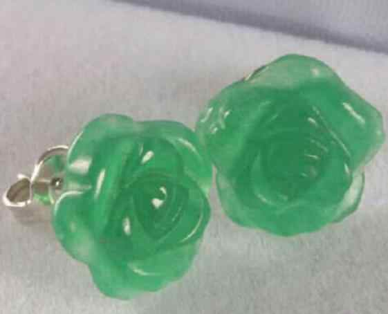 "Jewelry Jade Earring  pretty chinese="""" carved="""" green="""" rose="""" flower="""" stud=""""></pretty> Free Shipping"