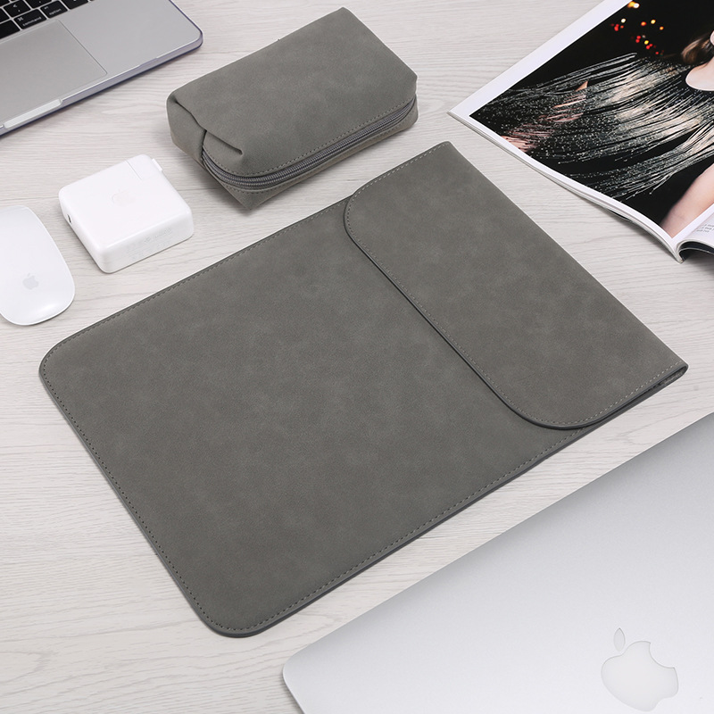 Faux Leather Matte Laptop Sleeve Bag For Macbook Air 13 11 12 2018 New Pro 13 15 Touch Bar Notebook Case For Apple Ipad Tablet