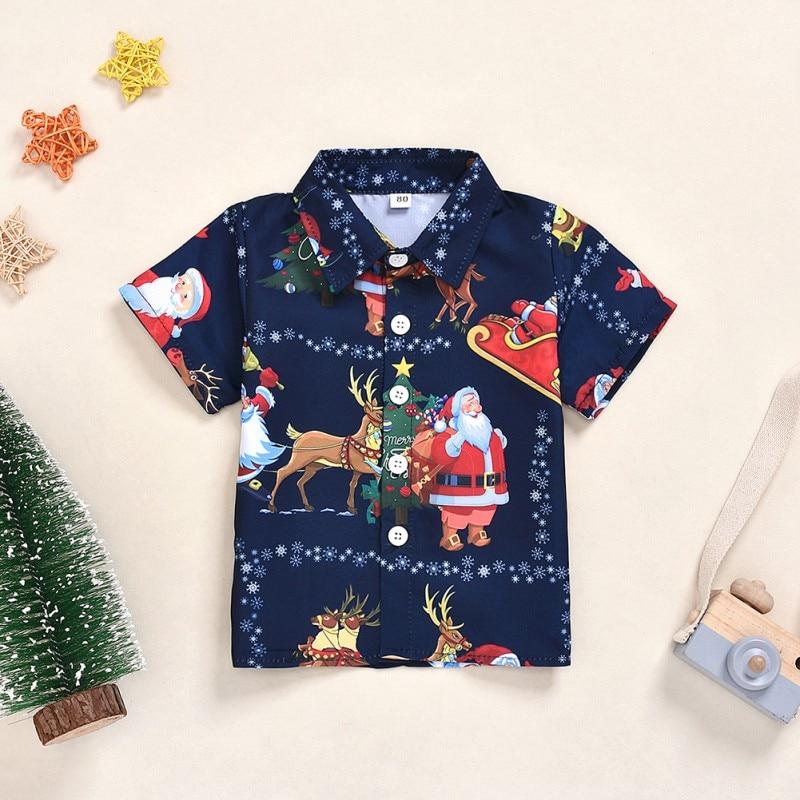 Autumn Baby Boy Short Sleeve Christmas Cartoon Print T-Shirts Kids Tops Casual Blouse1-6y