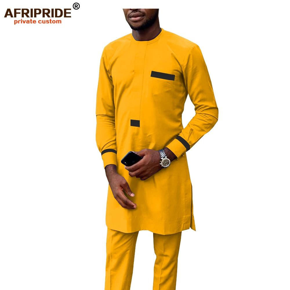 2019 African Men Clothing Tracksuit Autumn Outfit Dashiki Print Shirt And Ankara Pants Blouse Pockets Set AFRIPRIDE A1916017