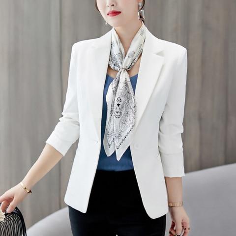 HEFLASHOR 2019 Fashion Office Lady Blazers Women Slim Turn Down Collar Blazer Mujer Retro Button Casual Suit Jackets Autumn Lahore