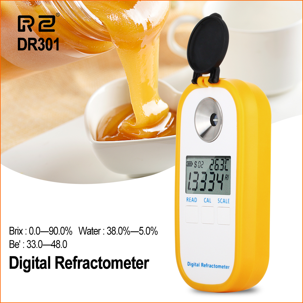 RZ Digital Honey Refractometer Sugar Syrup Meter Sugar Content Range 0~90‰ Brix Refractometer Baume Honey Concentration Tester