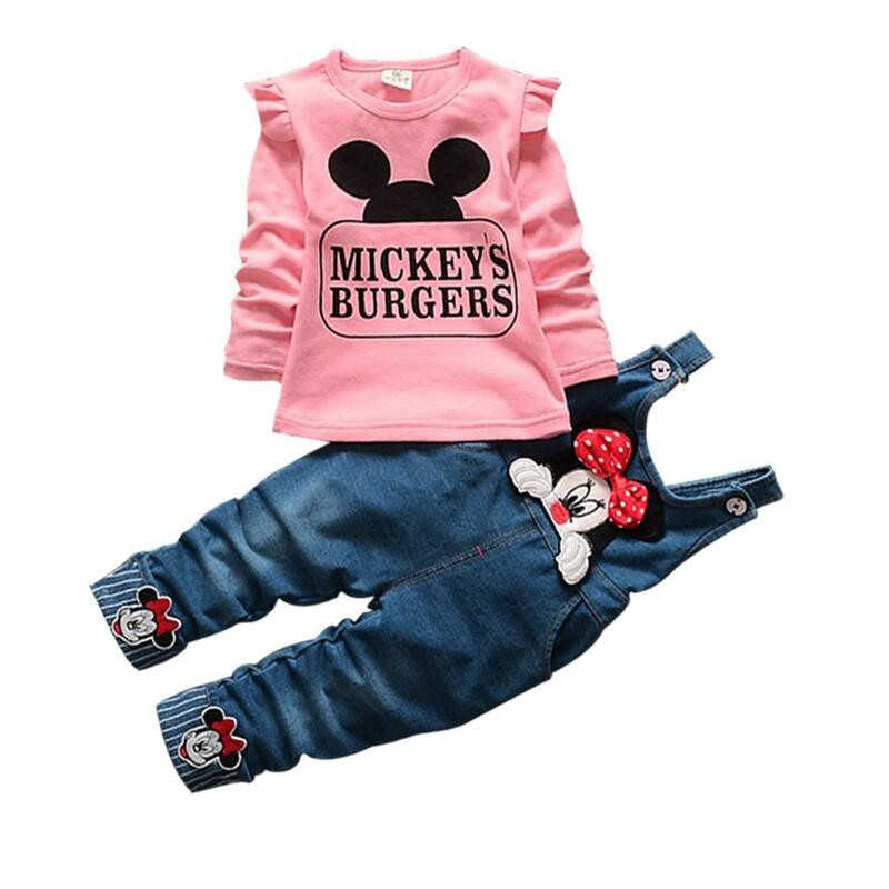 Girls Clothing Sets Casual Cotton Full Sleeve Spring Sets For Girls Minnie Baby Girl Clothes Shirt And Pants 2Pcs Kids Suits