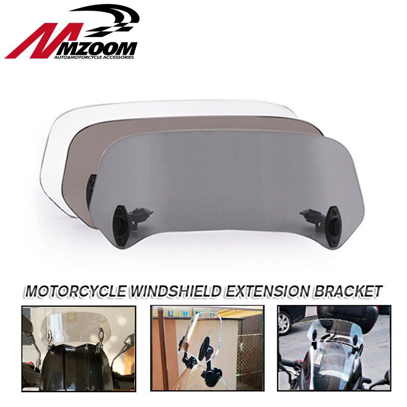 Motorcycle Parts Adjustable Clip On Windshield Extension Spoiler Windscreen Air Deflector For BMW Honda Suzuki Yamaha Kawasaki