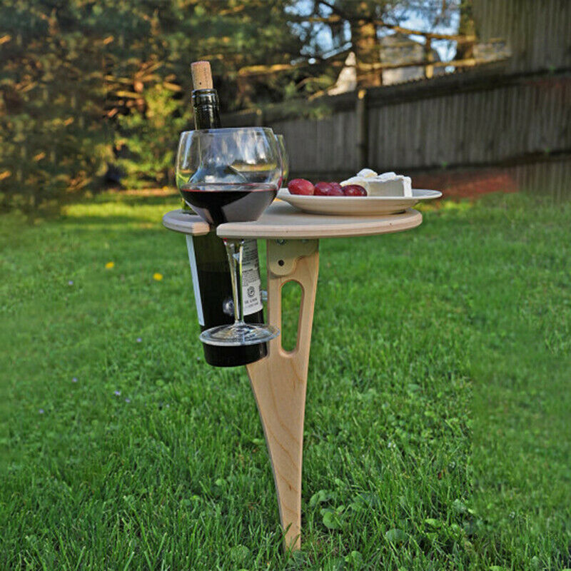 Portable Outdoor Wine Table with Foldable Round Desktop Mini Wooden Picnic Table Easy To Carry Wine Rack Dropshipping