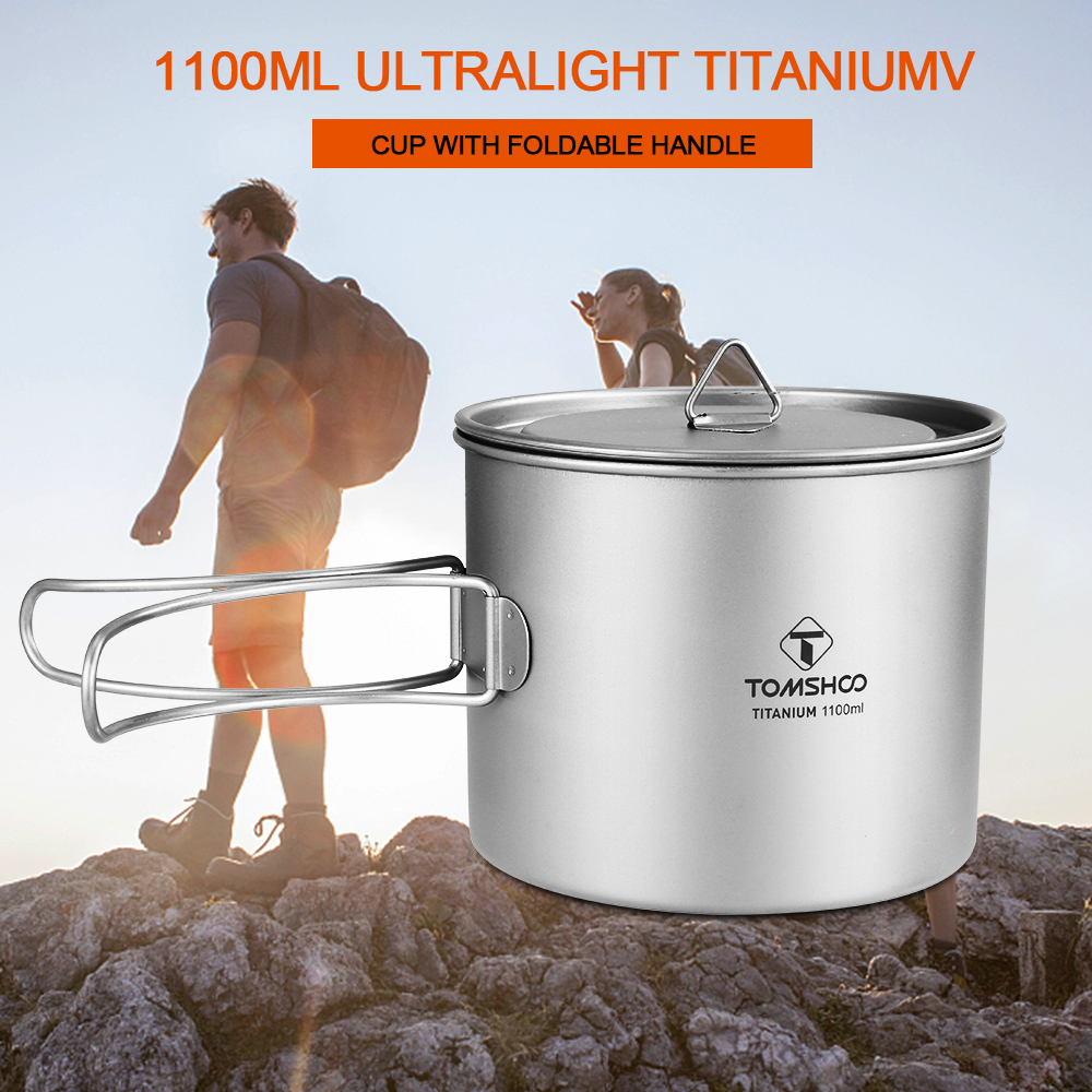 Portable Bowl Pot Pan Titanium Cup with Foldable Handle for Camping Picnic