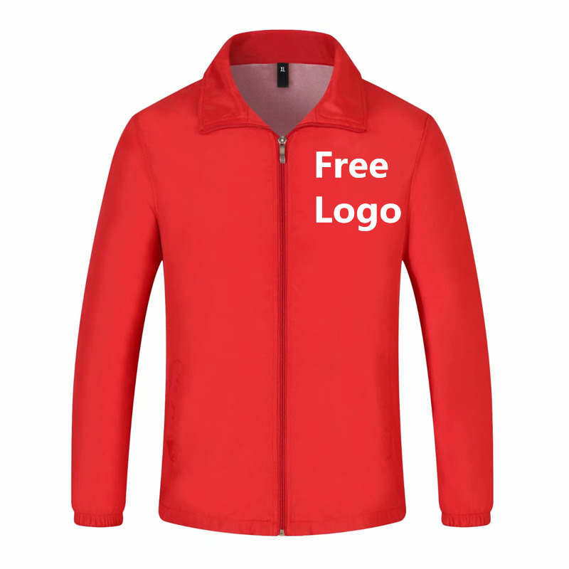 Free Customized DIY Logo Printing Company Work Wear Team Uniform Jacket For Man Woman Zipper Safety Costumes