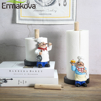 ERMAKOVA Resin Chef Double Layer Paper Towel Holder Figurines Creative Home Cake Shop Restaurant Crafts Decoration Ornament