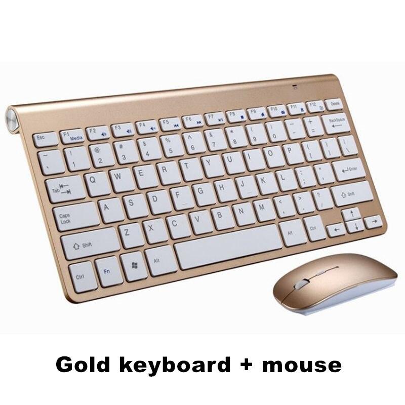 Ультра тонкая беспроводная клавиатура портативная 2,4G миниатюрная клавиатура с тачпадом Набор для Mac/notebook/tv Box/PC офисные принадлежности для IOS Android - Цвет: Gold keyboard set
