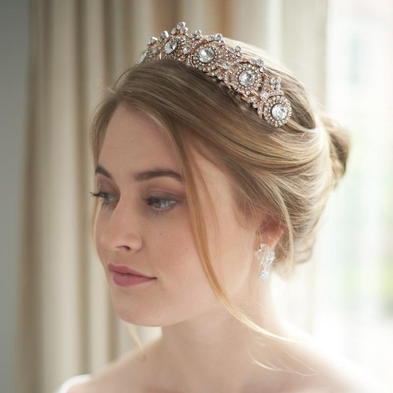 Rose Gold Rhinestone Crystal Princess Tiara Bridal Crown Wedding Prom Head Bands(China)