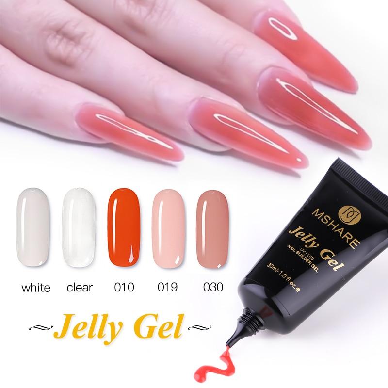 Mshare claro rosa tubo jelly gel prego construtor para unhas extensão cura com led lâmpada uv